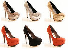 LADIES WOMENS PLATFORM HIGH HEEL COURT GLITTER PARTY FORMAL SHOES SIZE