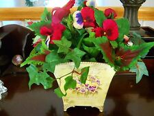 Pansy Floral arrangement decor Footed container Life Like Silk Gorgeous.