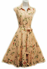 New Vtg Retro 1940's Peach & Lime Ditsy Floral Shirt Tea Dress by Rosa Rosa