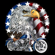 Patriotic Eagle USA Flag Motorcycle Chopper Biker Cool T-Shirt Tee
