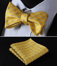 BC127Y Yellow Blue Floral Men Woven Silk Self Bow Tie Pocket Square Set