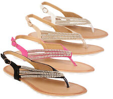Ladies Sandals Womens Diamante Summer Toe Post Flip Flops Beach Flat Shoes