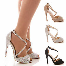 LADIES WOMENS HIGH HEEL DIAMANTE  PEEP TOE PARTY PROM WEDDING SHOES SIZE