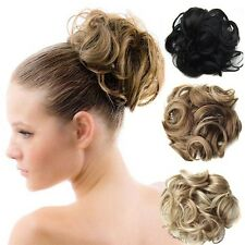 Wave Curly Drawstring Clip In Hair Bun Piece Chignon Updo Cover Hair Extensions