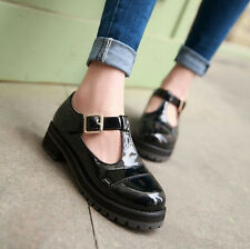 US 4-11 Womens Mid Heel T-strap Patent Leather Mary Jane Buckle Pumps Shoes 2015