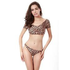 Summer Women Sexy Leopard Separates Swimsuit Push-up Chest Bra Bikini Swimwear