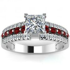 Size 5-11 Sterling Silver Ruby Ring Princess Cut Rhodium Wedding Engagement Halo