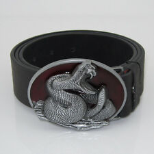 Fashion New Cool Cowboy 3D Cobra Snake Silver Red Men Metal leather Belt Buckle
