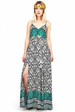 New Cute Beach Day Dress Bold Filigree Prints Sleeveless Long Maxi Dresses S M L