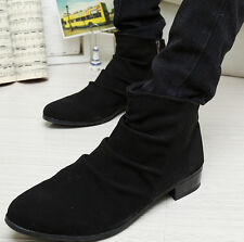 Mens Retro Casual Pleated Slouchy Zipped Cuban Pointed Toe Cuban Ankle Boots