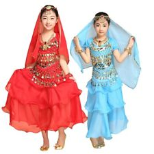 Kids Girls Belly Dance Outfit Costume Set Top 3 Layers Skirt Hip & Veil Scarf