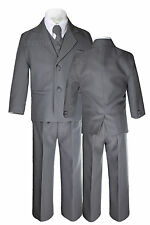 Baby Infant Toddler Kid Formal Party Wedding Dark Gray Tuxedo 5pc Boy Suit S-7