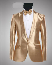 Mens Suit One Button Gold Dance Coats Wedding Blazers Stylish Jacket&Pants Size