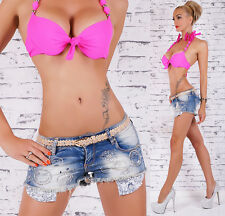 Sexy Shorty Incl. = Inclus. Ceinture Broderie Jeans Destroyed Long Sacs Taille