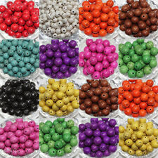 Wholesale DIY 4/6/8/10mm Carved Round Loose Turquoise Charm Beads Jewelry Making
