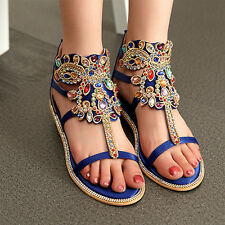 Womens Flat Luxury Rhinestone Open Toe Ankle Boot Roma T-Strap Sandal New Shoes