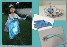 QUEEN ELSA Frozen Princess Party Dress Up Costume Girls Anna