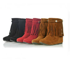 New Women's Ankle Shoes Round Toe Tassels Fringes Flat Boots AU All Size B046
