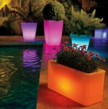 OUTDOOR SOLAR LIGHTED PLANTERS WITH REMOTE - 4 SIZES/STYLES - Garden Decor