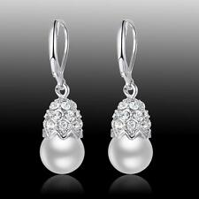 New Wedding Party Jewelry Gift White Pearl S80 Silver Gemstone Earrings