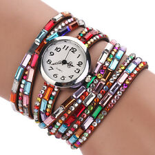 Steel Wire Crystal Beaded Women Multilayer Analog Wrist Watch Bracelet Bangle