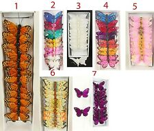 3 in Artificial Feather Butterflies (Choose Color)Decoration-New-USA