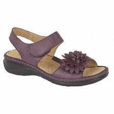 Boulevard Womens Ladies Leather Lined Velcro Floral Brooch Heeled Sandals Purple