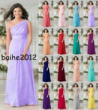 New Design One Shoulder Chiffon Evening Formal Party Prom Bridesmaid Dress 6-18