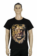 Mens Black Short Sleeve Round Neck Smart Casual Cotton Tee Animal Lion Print