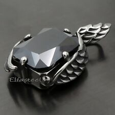 Women's Silver Angel Feather Black Onyx Crystal 316L Stainless Steel Pendant