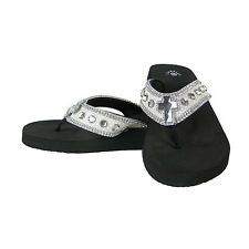 PEWTER CROC RHINESTONE CROSS FASHION FLIP FLOPS SANDALS BLING ISABELLA BRAND NEW