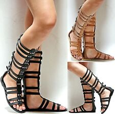New Women YMr Brown Black Strappy Gladiator Mid-Calf Tall Sandal sz 6 to 11