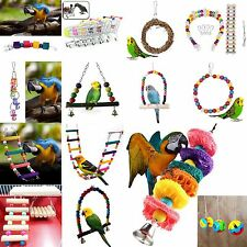 Colorful Parakeet Cockatiel Budgie Swing Bird Toy Parrot Rope Harness Cage Toys