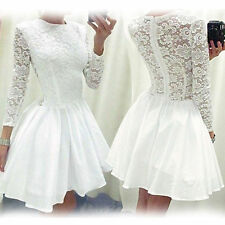 New Ladies Vintage Lace Long Sleeve Evening Formal Cocktail Party Mini Dress Top