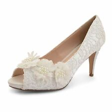 Womens Ladies Ivory High Heel Bridal Prom Party Bridesmaid Sandal Shoes Size