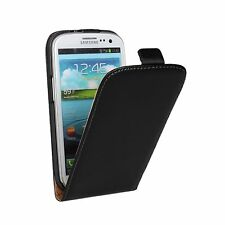 Black Leather Flip  Mobile Phone Case Cover For Samsung Galaxy Model