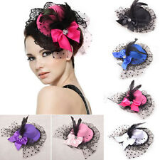Fashion Women Bow Hair Clip Lace Feather Mini Top Hat Fascinator Fancy Party