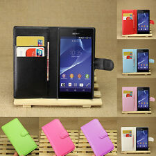 Flip Leather Wallet Case Cover Pouch For SONY Xperia M2 S50H