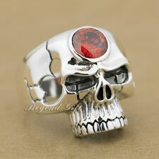 925 Sterling Silver Red CZ Stone Huge Skull Mens Biker Ring 9M015A