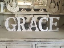 LARGE SHABBY CHIC VINTAGE WHITE WOODEN BABY NAMES  A-Z NAMES Alphabet Letters