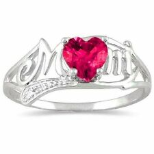 .50 Ct Ruby & Diamond Heart Mom Ring .925 Sterling Silver