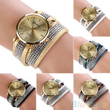 Unisex Pretty Geneva Faux Leather Rhinestone Wrap Analog Dial Quartz Wrist Watch