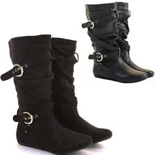 WOMENS LADIES BLACK FLAT HEEL OVER THE KNEE HIGH SUEDE LEATHER BOOTS ZIP SIZE