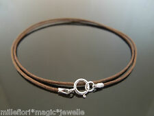 "1mm Brown Waxed Cord & 925 Sterling Silver Necklace 14"" 16"" 18"" 20"" 22"" 24"" etc"