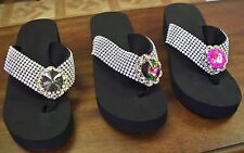 Summer Fun! Blinged Out Pink Multi-Color Comfortable Flip Flops Be Trendy! Sexy!