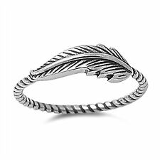 Sterling silver oxidized feather rope design band ring size 4 5 6 7 8 9 10