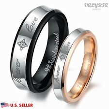 VALYRIA 316L Stainless Steel Lover Couple Engagement Wedding Promise Band Ring