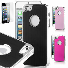 Aluminium Back hard case cover for apple iphone 4 4s 5 5s + Screen Protector