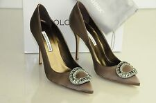 New Manolo Blahnik OIDO Jeweled Crystals Taupe Brown Satin Shoes Pumps  40 40.5