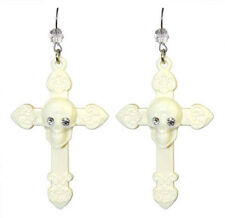 New With Tag Tarina Tarantino Jewelry SKULL AND CROSS DROP EARRINGS White  Authe